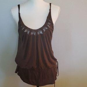 BCBG brown crochet tank top